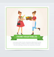 two women characters standing with fresh farm vector image vector image