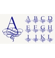 Vintage Set 1 Calligraphic capital letters with vector image vector image