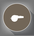 whistle sign white icon on brown circle vector image vector image