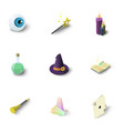 wizard things icons set isometric style vector image vector image