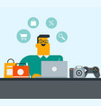 young caucasian white man shopping online vector image vector image