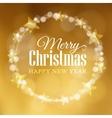 Christmas greeting card Wreath made of bokeh vector image