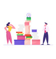 businesswoman and businessman looking on huge pile vector image vector image