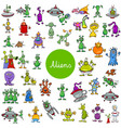 cartoon alien fantasy characters large set vector image vector image