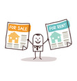 cartoon real estate agent with houses for sale