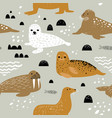 childish seamless pattern with seal and walrus vector image vector image