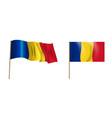 colorful naturalistic waving romania flag vector image