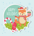 cute fox with gift candy cane leaves merry vector image
