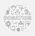 donation round donating money vector image vector image