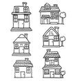 doodle of building style collection vector image