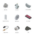 engine part icons set isometric style vector image vector image