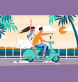 flat man and woman couple riding on motorbike near vector image vector image