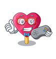 gamer heart shaped ice cream the cartoon vector image