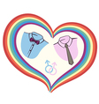 gay love with heart vector image vector image