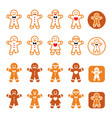 gingerbread man christmas icons set - xmas baking vector image