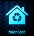 glowing neon eco house with recycling symbol icon vector image vector image
