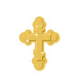 golden cross isolated orthodox symbol of gold vector image