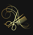hairdressing scissors and comb gold color vector image