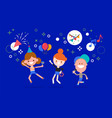 happy children jumping and dancing in party flat vector image