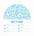 help and care concept in half circle vector image