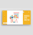 landing page with man character and colorful chart vector image