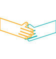 line humans shaking hands with fingers and nails vector image vector image