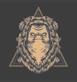 lion bandana triangle badge vector image vector image