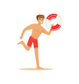 male lifeguard in red shorts runnning with vector image