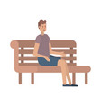 man sitting in park chair avatar character vector image vector image