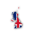 Map and flag of Great Britain vector image vector image