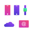 mobile devices icons cloud and email technologies vector image