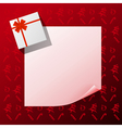 Note with gift on red christmas background vector image