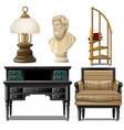 objects and furniture vintage interior isolated on vector image vector image