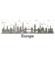 outline color famous landmarks in europe vector image vector image