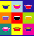 pan sign pop-art style colorful icons set vector image vector image