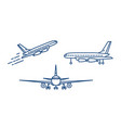 passenger plane or civil aircraft taking off or vector image