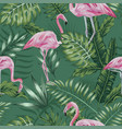 pink flamingo green jungle seamless vector image vector image