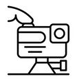 play action camera icon outline style vector image