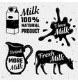 Quotes About Milk Monochrome Set vector image vector image