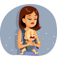 sad mother and bacrying together vector image vector image