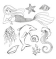 sea life monochrome cartoon travel tropical vector image vector image