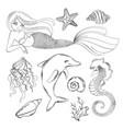 sea life monochrome cartoon travel tropical vector image
