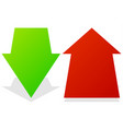 set of 3d up down arrows in perspective green red vector image vector image