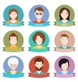 Set of modern people avatar in style flat design vector image