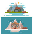 set of rustic dwellings vector image vector image