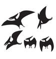 set pterodactyl silhouette vector image vector image