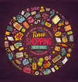 set shopping cartoon doodle objects vector image vector image