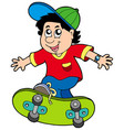 skateboarding boy vector image