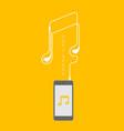 smartphone black color flat design mock up music vector image vector image