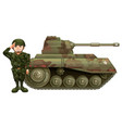 soldier and military tank vector image vector image
